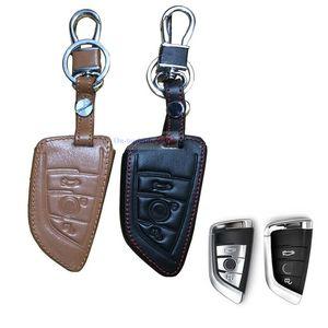 البني حامل جلدية بعد فوب حقيبة السيارة مفتاح الغطاء القضية شل لBMW X3 X4 X5 X6