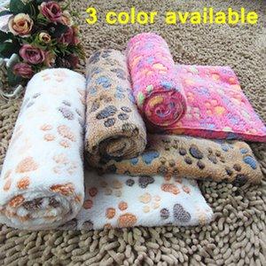 Cama para perros Perros Manta Mats Throw franela para mascotas cama durmiendo cubierta suave terciopelo de la pata Impresión del pie caliente Manta lavable para mascotas Pet DHE914 cama