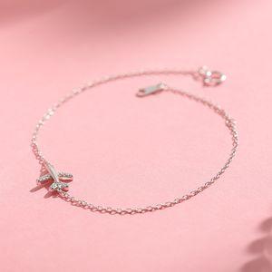 OBEAR Silver Plated Plane Bracelet for Women Zircon Aircraft Airplane Adjustable Chain Bracelets Luxury Jewelry Girls Gift