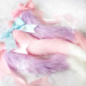 100%Handmade Lovely Japanese Soft Fox Tail Bow Silicone Butt Anal Plug Erotic Cosplay Accessories Adult Sex Toys for Couples Y200422