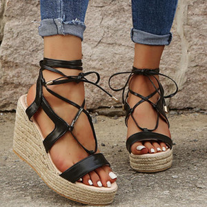 2020 New Women Wedge Sandals Summer Fashion Wedges High Heels Shoes Ladies Buckle Strap Peep Toe Thick Bottom Casual Shoes #4.28