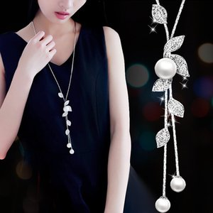Hot Chain Women Jewelry Pendant Flowers Multilayer Tassel Pearl Crystal Leaves Sweater Chain Necklace