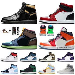 Nike Air Jordan travis scott 1 1s off white Retro 1 2020 Jumpman 1 High OG Black Gold Bio Hack Damen Herren-Basketball-Schuhe 1s Satin Schlange Fearless Turnschuhe