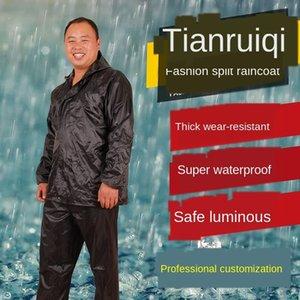 TA3c4 Bau Wandern Regenmantel und Schutzhose für Erwachsene Split-Single-Layer-Website Anzug SGLPl Arbeitsschutzregenmantel reflektierende regen