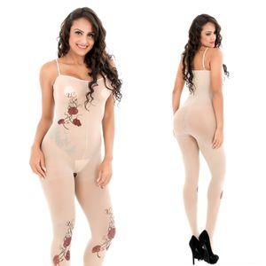 ZUxNi 2019 sexy Schlinge Aprikose stieg Sling offenen Bereich Strümpfe 6140C Tätowierung sexy Silk Stockings Silk einteilige Unterwäsche Unterwäsche