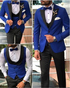 Men Suits Royal Blue and Black Groom Tuxedos Shawl Satin Lapel Groomsmen Wedding Best Man ( Jacket+Pants+Bow Tie+Vest ) C680