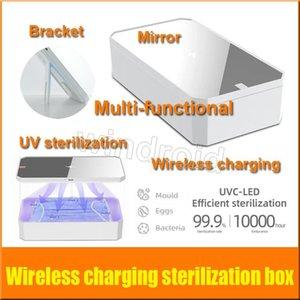 cgjxs Cgjxs multifuncional esterilización UV Caja de desinfección Moblie inalámbrica de carga del teléfono Caja de esterilización ultravioleta de Split maquillaje Espejo