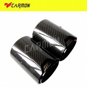 2PCS réel en fibre de carbone noir Embout d'échappement Tuyau Silencieux M Performance échappement M2 M3 F87 F80 M4 M5 F82 F83 F10 M6 F12 F13 qqgF #