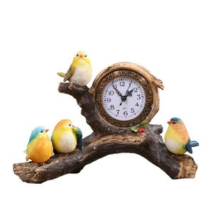 New Fashion European Vintage Resin Bird Table Clock Creative Desk Clock Living Room Bedroom Bedside Mute Desktop Sculpture