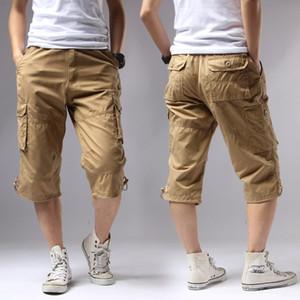 Casual Men Shorts Regular Solid Pockets Khaki Black Cotton Shorts Summer 2020 Men Cargo Army Men's 1505#