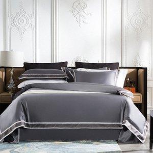Chic Iniziale Hotel Breve Style morbidezza serica cotone egiziano Camera Copripiumino insieme lenzuolo federa Regina King Size Lusso Com 6jac #
