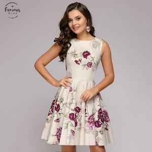 Ladies Elegant Printing Creamy White Summer Dress Casual Sleeveless Round Neck Mini Chiffon A Word Party Dress For Women