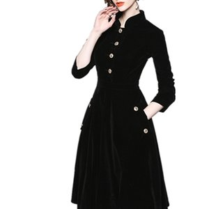 2020 Autumn Winter Designer Vintage Women Black Velvet Runway Slim Dress Long Sleeve Pocket Single-breasted Swing Dress 2XL 3XL0924