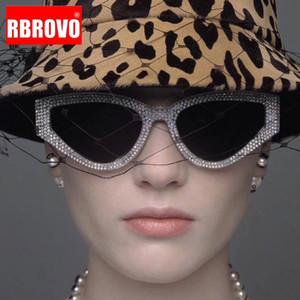 RBROVO Rhinestone Cat Eye солнцезащитные очки женщин 2020 Cолнцезащитные очки Женщины Зеркало очки Урожай Feminino