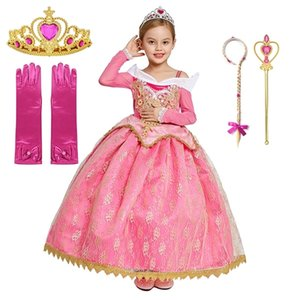 Elegant Dress Sleeping Beauty Fancy Dress Children Christmas Party Cosplay Clothing Long Sleeve Lace Prom Dresses Kids Clothes 0922