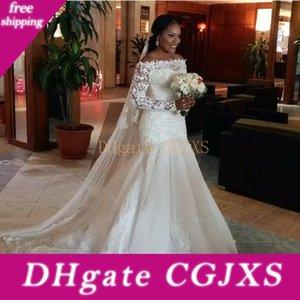 Africano Ombro 2019 Sexy sereia casamento vestidos longos mangas Off Modest Lace apliques Beads vestidos de noiva Tribunal Trem gratuito Veil