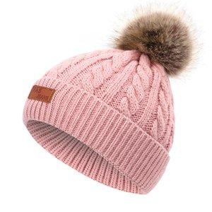 2020 per il cappello di lana di colore Cap imitazione del cane di Raccoon sfera della pelliccia Cappellino Lino Fiore AF Jeans per bambini di etichetta in pelle
