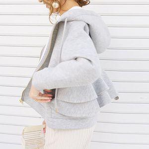 Women Autumn Hoodie Korean Fashion Causal Plain Zip Up Sweatshirts Pullovers Loose Falbala Kawaii Short Coat Outwear Black 200922