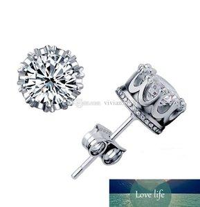 925 стерлингового серебра CZ Алмазный Корона шпилька серьги ювелирных изделий способа красивая свадьба / помолвка подарок Золото Серебро Корона Серьги