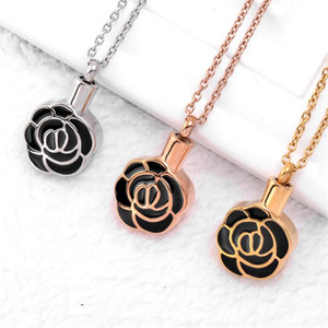 Elegant Womens Rose Flower Cremation Urn Necklace Memorial Jewelry 316 L Stainless steel Ashes Keepsake