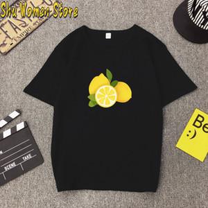 2020 Sommer-Freizeit-Frauen arbeiten Früchte T-Shirt Kurzarm Lemon drucken T-Shirt Top Harajuku-T-Shirt der Frauen O-Ansatz