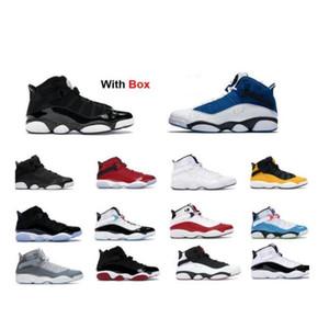С коробкой 6 6s Кольца баскетбольные ботинки черный матовый Серебряный баскетбол обувь Space Jam 6 колец Concord такси команды Royal Sneaker тренеров
