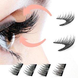 venda quente 8Pcs 3D Magnetic Falso fibra de seda cílios naturais grossos longos cílios extensões