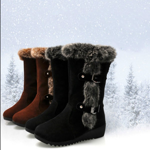 BJYL 2020 New Winter Women Suede Boots Casual Warm Boots Women Slip-On Round Toe Wedges Snow Large Size 35-42