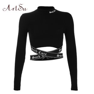 ArtSu Streetwear Gothic Letter Sexy Crop Top Long Sleeve Women T-shirt Stand Collar Cross Tee Shirts Femme Black Tops ASTS20500 T200814
