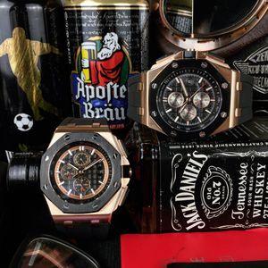 Audemars Piguet ap  Moda Royal Oak Offshore Chronograph progettista Guarda il 42 Ginza cassa in oro rosa quadrante nero cinturino in pelle al quarzo da uomo Orologi da polso