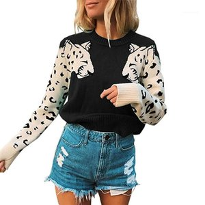 Autumn Crew Neck Loose Colorblock Sweater Ladies Fashion Clothes Women Animal Long Sleeve Knit Spring