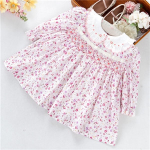 infant newborn baby girls dresses smocked flower hand made cotton peter pan collar kids clothes children clothing 0922
