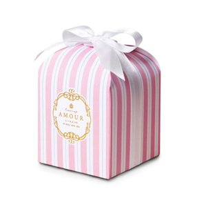 8x8x8cm 50pcs Pink striped Single Cupcake Box and Packaging Of cake for wedding Cajas Baby Shower Gift Box Packaging
