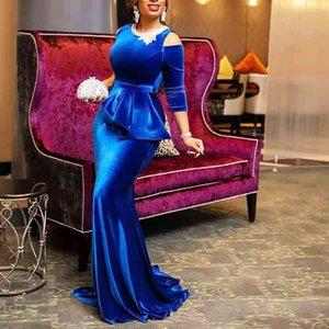 Повседневные платья Ретро красное бархатное русалка длинное платье женщин плюс размер вечерняя вечеринка элегантная выкл.