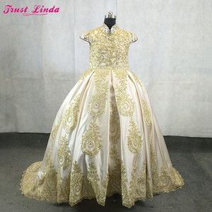 Royal Flower Girl Dress for Wedding Satin Gold Lace Appliques Beaded Ball Gown Girl Party Communion Dress Pageant Gowns