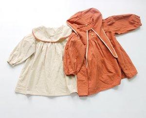 FM Корейский Качество Ins Мода Детские Маленькие Девушки Платья Органические Хлопковые Кролики Передние Кнопки Дети