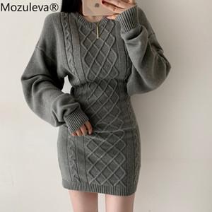 Mozuleva Sexy O-collo Twist vestito dal maglione 2020 donne manicotto pieno Backless femminile Vestito Hip Pacchetto Inverno Vestidos