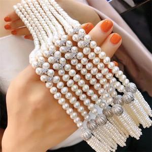 Collar de perlas de borlas de oro blanco elegante de las mujeres collar plateado CZ Swaeter de fiesta de la boda del bonito regalo