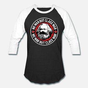 No War Mas Class War Karl Marx camiseta de algodão homens personalizado rodada camisa Pattern Neck magro louco estilo engraçado Verão
