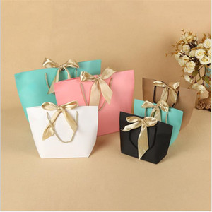 2pcs Lot Wedding Birthday Gift Bag, Party Colorful Recyclable Kraft Paper Bag, Handle Shopping Clothes Packaging With Bow Ribbon