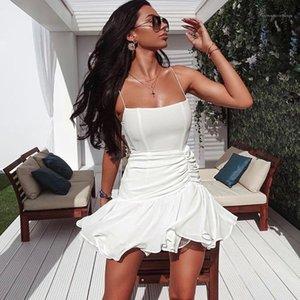 Elbise Kadınlar Pileli Mini Elbise Seksi Mesh Spagetti Askı Elbise Moda Boyun Katı Renk Slim Slash
