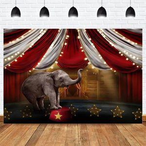 Circo Fotografia Sfondo Fotografia Arti sceniche Elephant tema della festa di compleanno Sfondo rosso Stripes Newborn Photocall fondale