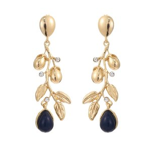 Newest Women's Fashion Long Branch Leaves Earrings With Crystal Gold Color Water-drop Stone Wedding Brincos Factory Wholesale