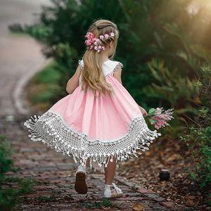 Clearance Excelent New Summer Dress Mesh Girls Toddler Baby Girl Ruffles Sleeveless Floral Patchwork Lace Sundress Clothe Dress Z0205