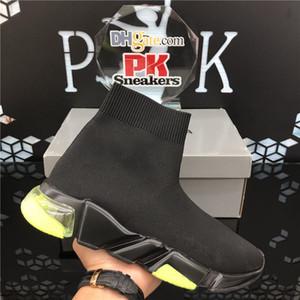 Qualität neue Art und Weise Socken stricken Schuhe Geschwindigkeit Trainer Hohe Rennen Runners Frauen der Männer Turnschuhe Schwarze weiße Slip-on triple s Freizeitschuhe mit Kasten