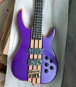 Custom Made 4 String Purple Electric Bass 24 frets Black Hardware China Electric Guitar Bass
