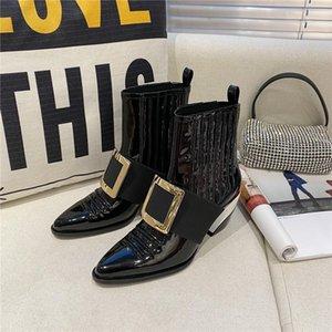 Sonbahar yeni stil kadın tıknaz topuk ayak bileği çizmeler sıcak satış hakiki deri topuklu ayakkabı günlük parti ins