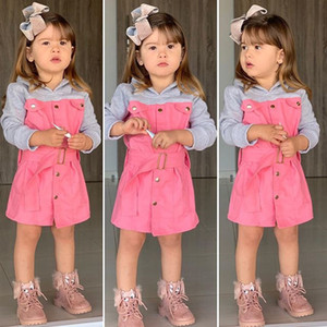 Fashion new girls hooded sweatshirt children single-breasted long sleeve sweatshirt dress kids patchwork color belt outwear A4032