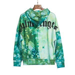 2020 Autumn and Winter new high street fashion rolling and dyeing green printing pullover hoodie sweater VYDJ