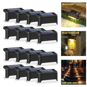 Luz Solar Caminho 16pcs LED Lâmpada Solar Stair impermeável ao ar livre Wall Light Garden Landscape degrau deck Luzes Varanda Fence